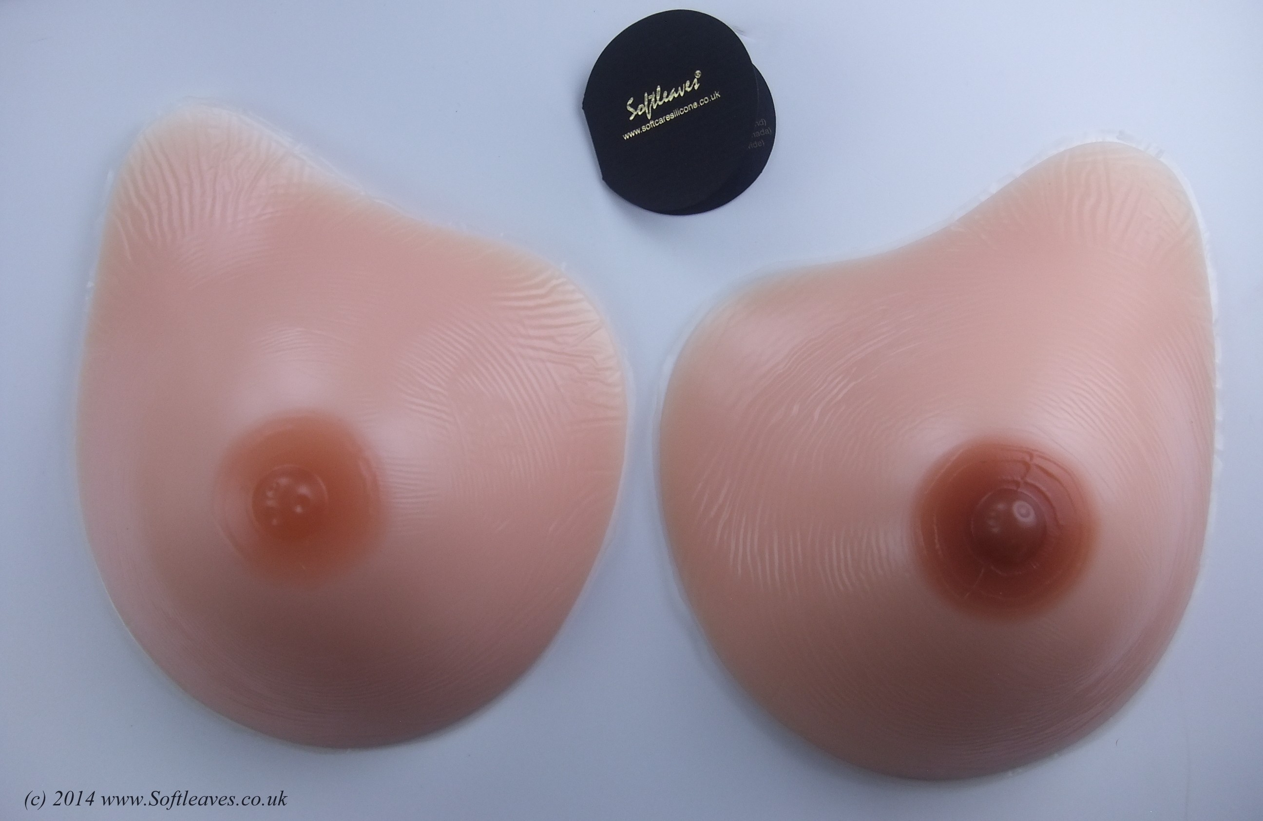 Softleaves N100 Silicone Breast Forms with Dark Nipples
